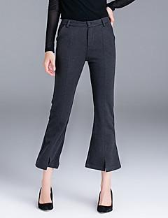 Femme Pour Bottes (Bootcut) Entreprise Pantalon,simple Décontracté / Quotidien Couleur Pleine Taille Normale Bouton Coton Micro-élastique