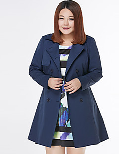 Damen Solide Einfach Lässig/Alltäglich Mantel,Winter Gekerbtes Revers Langarm Blau / Rot Baumwolle / Polyester