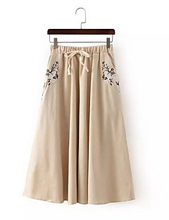 Women's Casual/Daily Midi Skirts,Simple Swing Solid Summer