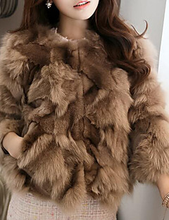 Women's Casual/Daily Simple Fur Coat,Solid Long Sleeve Blue / White / Brown / Gray / Green Fox Fur