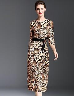 Dame Simpel Casual/hverdag Skede Kjole Leopard,Rund hals Midi 1/2 ærmelængde Brun Polyester Efterår Alm. taljede Uelastisk Medium