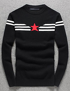 Men's Going out Casual/Daily Simple Regular Pullover,Striped Black Round Neck Long Sleeve Polyester Fall Winter Medium Micro-elastic