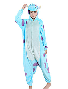 Kigurumi Pajamas Cartoon Halloween Animal Sleepwear Blue Patchwork Velvet Mink Kigurumi Unisex / Female / MaleHalloween / Christmas /