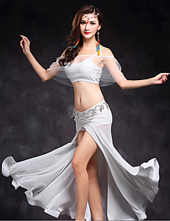 Belly Dance Outfits Women's Performance Tulle Split Front 2 Pieces Sleeveless Natural Top / Skirt