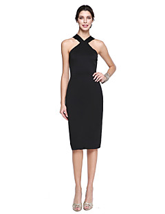 TS Couture Cocktail Party Prom Dress - Ivanka Style Celebrity Style Little Black Dress Sheath / Column Halter Knee-length Matte Satin with