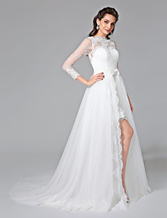 2017 Lanting Bride® A-line Wedding Dress - Chic & Modern Two-Piece Wedding Dresses Court Train Bateau Lace / Tulle withBow / Button / Sash /