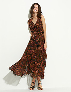 Damen Kleid - Swing Sexy / Party Leopard Maxi Chiffon V-Ausschnitt