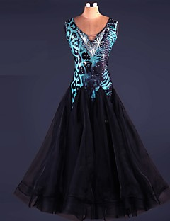 Ballroom Dance Dresses Women's Performance Spandex Draped Crystals 1 Piece Black Modern Dance Dress