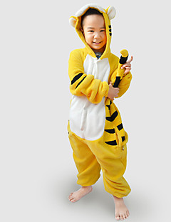 Kigurumi Pajamas Tiger Leotard/Onesie Festival/Holiday Animal Sleepwear Halloween Black Yellow Patchwork Flannel Kigurumi For Kid
