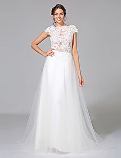 2017 Lanting Bride® A-line Wedding Dress - Elegant & Luxurious See-Through Wedding Dresses Court Train Bateau Tulle with Appliques / Sash