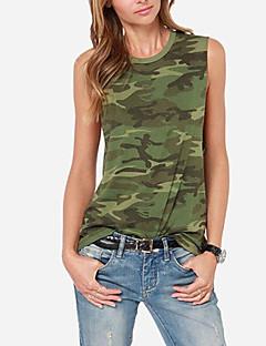 Damen camuflaje Einfach Lässig/Alltäglich Tank Tops,Rundhalsausschnitt Alle Saisons Ärmellos Grün Polyester Dünn