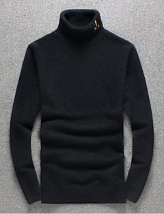 Men's Going out Casual/Daily Simple Regular Pullover,Solid Black Purple Turtleneck Long Sleeve Polyester Fall Winter Medium Micro-elastic