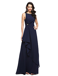 Sheath / Column Jewel Neck Floor Length Chiffon Formal Evening Dress with Beading Pleats by TS Couture®