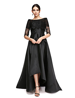 2017 TS Couture® Formal Evening Dress - Little Black Dress A-line Off-the-shoulder Asymmetrical Satin with Lace