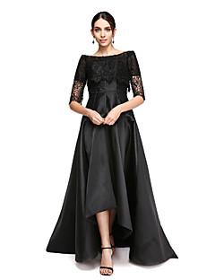 TS Couture Торжественное мероприятие Платье - Маленькое черное платье А-силуэт Приспущенные плечи Асимметричное Сатин с Кружева