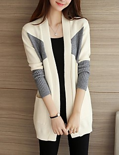 Women's Casual/Daily Simple / Cute Long Cardigan,Color Block Pink / Red / White / Yellow Cowl Long Sleeve Acrylic Fall / Winter Thick