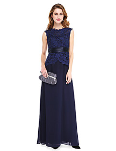 Lanting Bride® מעטפת \ עמוד שמלה לאם הכלה  - גב פתוח עד הריצפה ללא שרוולים שיפון / תחרה  -  כפתורים / סרט