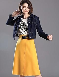 Damen Röcke,A-Linie einfarbig Schleife,Lässig/Alltäglich Einfach / Street Schick Hohe Hüfthöhe Knielänge ReisverschlussAcryl / Polyester