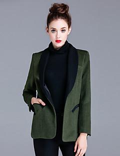 Blazer Femme,Couleur Pleine Décontracté / Quotidien simple Automne / Hiver Manches Longues Col châle Vert Coton