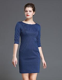 Kadın Günlük/Sade Sade Kılıf Elbise Solid,¾ Kol Uzunluğu Yuvarlak Yaka Diz üstü Mavi / Kırmızı Polyester Sonbahar Yüksek Bel Mikro-Esnek