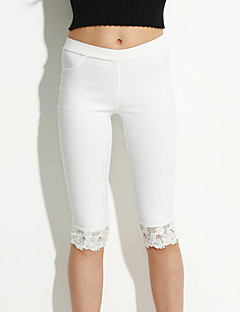 Women's Solid White/Black Skinny Pants , Bodycon Lace