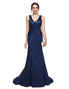 Sereia Decote V Cauda Corte Charmeuse Evento Formal Vestido com Pregas de TS Couture®