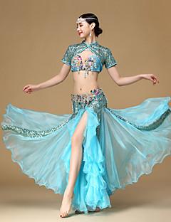 Χορός της κοιλιάς Σύνολα Επίδοση Βαμβάκι Πολυεστέρας Χάντρες Πλισέ 3 Κομμάτια Κοντομάνικο Χαμηλή Μέση Επίστρωση Φούστα Σουτιέν