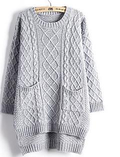 Damen Standard Pullover-Lässig/Alltäglich Einfach / Niedlich Solide Beige / Grau Rundhalsausschnitt Langarm Baumwolle Herbst / Winter Dick