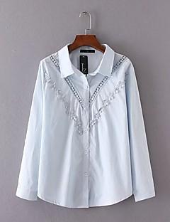 Camicia Da donna Casual SempliceTinta unita Squadrata Cotone Blu / Bianco Manica lunga
