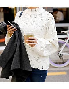 여성 보통 풀오버 캐쥬얼/데일리 귀여운 자수장식,화이트 / 블랙 터틀넥 긴 소매 면 가을 중간 약간의 신축성