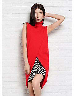 Women's Casual/Daily Simple Regular Pullover,Solid Blue Red Turtleneck Sleeveless Polyester Fall Medium Micro-elastic