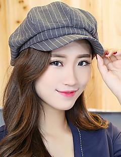 Women Men England Vintage Casual Tweed Stripe Plaid Wool Beret Casquette Octagonal Hat