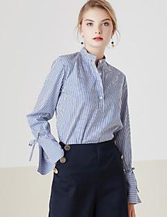 Dames Eenvoudig Lente Overhemd,Casual/Dagelijks Gestreept Opstaand Lange mouw Blauw Katoen Medium