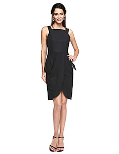ts couture 칵테일 파티 드레스 - 연예인 스타일 furcal 작은 검은 색 드레스 외장 / 열 스트랩 무릎 길이의 쉬폰