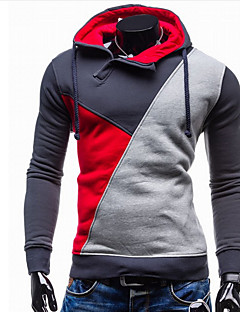Men's Going out / Casual/Daily / Sports Active Regular Hoodies,Color Block Blue / Red / Green / Orange Hooded Long Sleeve CottonSpring /