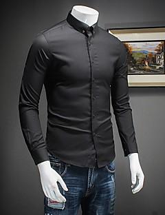 Masculino Camisa Social Informal Simples Outono,Sólido Branco / Preto Algodão Decote Redondo Manga Longa Fina