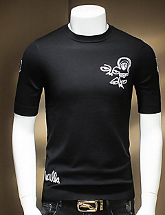 Men's Going out / Casual/Daily Simple Summer T-shirt,Solid Round Neck Long Sleeve Black Cotton Medium