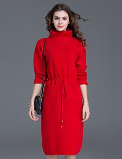 Damen Etuikleid Kleid-Lässig/Alltäglich Einfach Solide Rollkragen Knielang Langarm Rot / Grün Polyester Herbst / Winter Mittlere Hüfthöhe