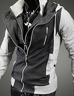 Мужчины На выход / На каждый день / Спорт Активный Обычный Толстовки Контрастных цветов,Черный / Серый Капюшон Длинный рукав ХлопокВесна