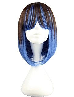 Lolita Wigs Punk Lolita Color Gradient Short Brown / Blue Lolita Wig 40 CM Cosplay Wigs Patchwork Wig For Women