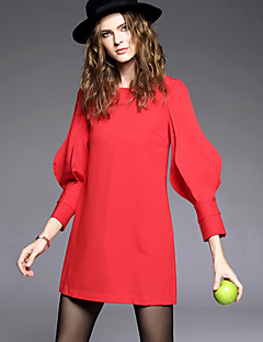 AGD Women's Casual/Daily Vintage Loose DressSolid Round Neck Above Knee Long Sleeve Red / Black Others Winter High Rise Inelastic Medium