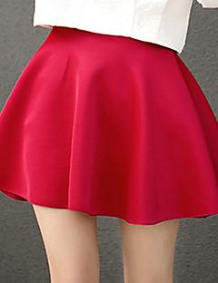 Naisten Petite A-linja Yhtenäinen Laskostettu Hameet,Seksikäs Rento/arki-Keski vyötärö Mini Joustavuus Polyester Mikrojoustava Kesä