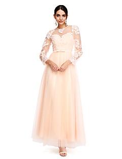 2017 ts couture® balen formell kväll klä en-line juvel fotsid tyll med applikationer / skärp / band / rosett (s) / knappar