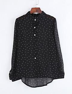 מנוקד צווארון חולצה פשוטה / סגנון רחוב ליציאה עליונית טנק נשים שרוול ארוך שחור דק חוטי זהורית