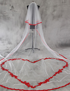 Wedding Veil Two-tier Blusher Veils Cathedral Veils Lace Applique Edge Scalloped Edge Tulle Lace