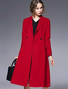 Damen Solide Einfach Lässig/Alltäglich Mantel,Herbst / Winter Langarm Rot Dick Wolle