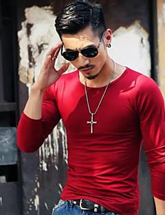 Masculino Camiseta Casual SimplesSólido Azul Vermelho Branco Preto Cinza Verde Laranja Algodão Decote Redondo Manga Longa
