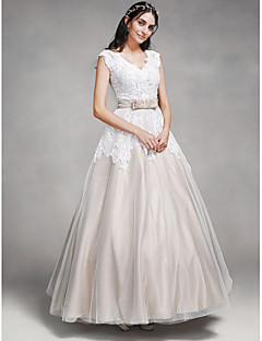 LAN TING BRIDE A-line Wedding Dress Wedding Dress in Color Ankle-length V-neck Lace Satin Tulle with Button Lace Sash / Ribbon