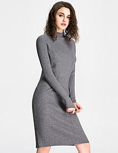 JoanneKitten Women's Casual/Daily / Formal / Work Vintage / Simple / Sophisticated Sheath / Little Black / Sweater Dress Solid / Striped Crew Neck
