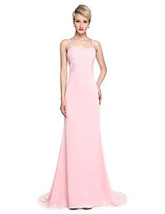 Lanting Bride® שובל קורט ג'רסי אלגנטי שמלה לשושבינה  - בתולת ים \ חצוצרה רצועות ספגטי עם אפליקציות